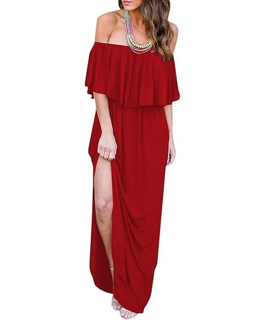 Vestidos Largos Mujer Vestido de Tirantes Maxi Largo Vestidos de Fiesta Rojo S