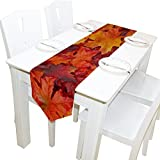 Yochoice Table Runner Home Decor, Vintage Thanksgiving Autumn Maple Leaves Table Cloth Runner Coffee Mat for Wedding Party Banquet Decoration 13 x 90 inches