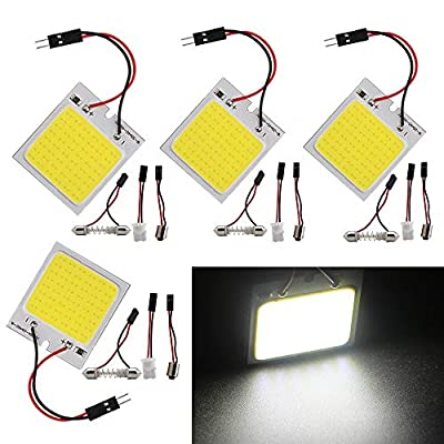 Everbright 4-Pack White Led Panel Dome Light Lamp, COB 48-SMD Led Interior Car Lights Auto Led Dome Lights Interior with T10 /BA9S/ Festoon Adapters, DC-12V: Automotive