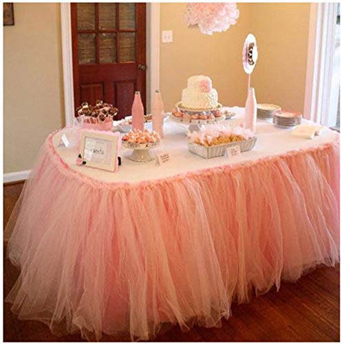 Handmade TUTU Table Skirt Tulle Tableware for Baby Shower Birthday Party Wedding Even Cake Table Girl Princess Decoration (Peach)]()