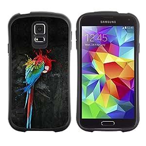 """Pulsar iFace Series Tpu silicona Carcasa Funda Case para Samsung Galaxy S5 , Loro Arte Pintura colorida de la acuarela del arte del pájaro"""""""