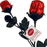 "Deep Red Foil Sweetheart Solid Milk Chocolate Roses (1/2 Oz, 9.5"" Long) - 3 Roses Bouquet"