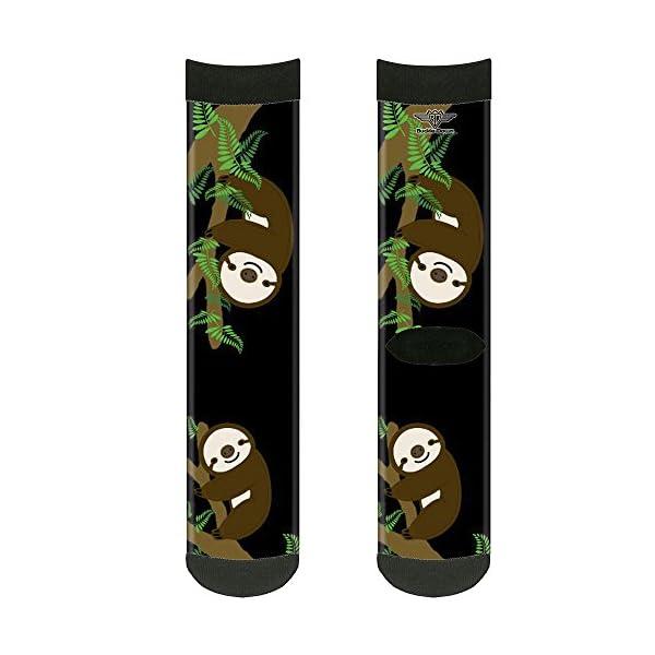 Buckle-Down Unisex-Adult'S Socks Sloth Face/Hanging Black Crew, Multicolor -