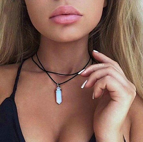 Aukmla Stone Pendant Choker Necklace for Women and Girls
