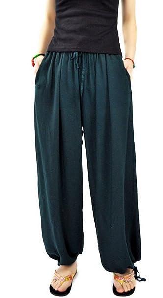 Aivtalk - Pantalones de Pierna Ancha Bombachos Pantalones Harem de Lino para Mujeres Yoga Fitness Vida Cotidiana Casual Simple - Rojo Gris Verde Azul ...