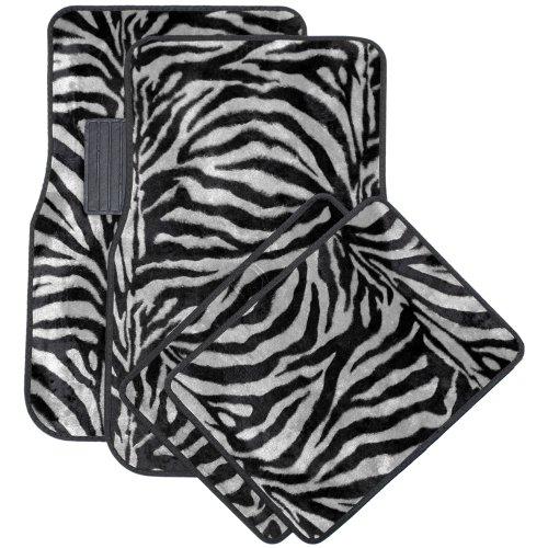 Oxgord Front & Back Seat Zebra/Tiger Stripe Carpet Mats for for Car/Truck/Van/SUV, Gray & Black