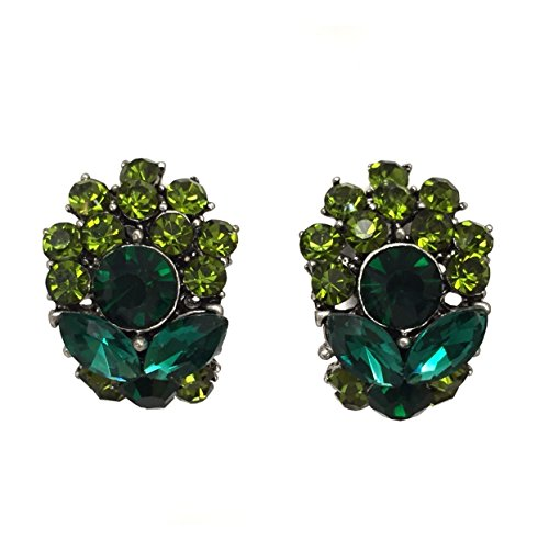 Dark Green Jewel (Half Hoop Fancy Rhinestone Clip on Formal Earrings - Multiple colors)