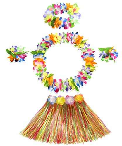 40cm multicolor grass skirt with flowers bracelets headband necklace Hula set (Hula Set)
