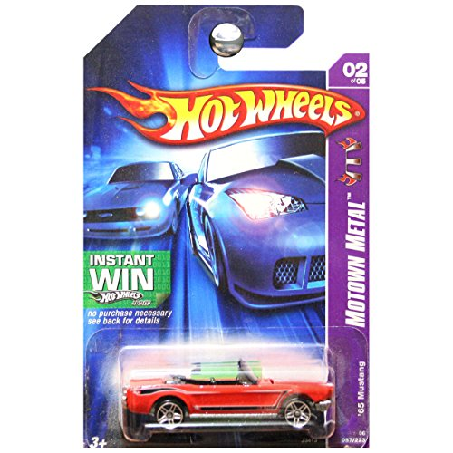 Hot Wheels 2007 Motown Metal 1965 65 '65 Ford Mustang Convertible Red Instant Win Card #87