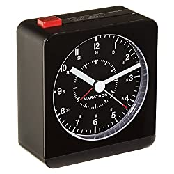 MARATHON CL030053BK Classic Silent Sweep Alarm Clock with Auto Night Light. Batteries Included