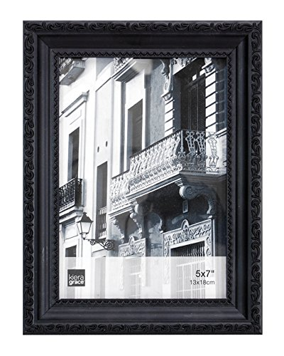 Kiera Grace Claire Picture Frame, 5 by 7 Inch, Black with Raised Leaf Border