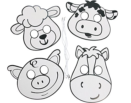 12 Colour and Decorate Your Own Farm Animal Masks | Costume Party Masks -