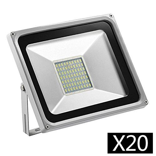 20 PCS 4 generazioni 50w proiettore freddo bianco Floodlight IP65 impermeabile, adatto per giardino, terrazzo, quadrato, pannelli display, stadio, ecc.