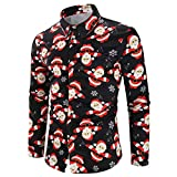 NUWFOR Men Casual Snowflakes Santa Candy Printed Christmas Shirt Top Blouse(Black,US:S Chest33)