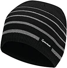 TaylorMade 2017 Thermal Fleece Stripe Beanie Knitted Mens Golf Hat Black c55c686fdd1f