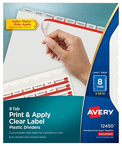 Avery 8-Tab Plastic Dividers, Easy Print & Apply Clear Label
