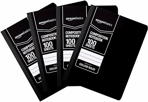 AmazonBasics College Ruled Composition Notebook, 100-Sheet, Solid Black, 4-Pack