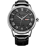 SONGDU Men's Day Date Roman Numeral Watch Big Face with Black Dial Black Calfskin Leather Band