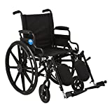 Medline Premium Ultra-Lightweight Wheelchair with Flip-Back Desk Arms and Elevating Leg Rests for Extra Comfort, Black, 18' x 16' Seat
