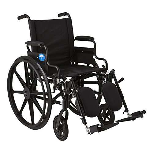 Medline Premium Ultra-Lightweight Wheelchair with Flip-Back Desk Arms and Elevating Leg Rests for Extra Comfort, Black, 18
