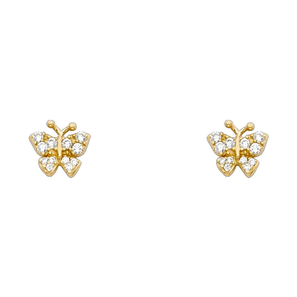 14K Yellow Gold CZ Beautiful Butterfly Screw Back Stud Earrings Ioka