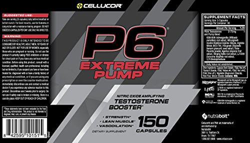 Cellucor P6 Extreme Pump Testosterone Booster for Men, Nitric Oxide Pump Amplifier, Build Strength & Lean Muscle, Boost Vasodilation & Energy, 150 Capsules