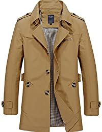 Mens Trench Coat Single Breasted Lightweight Jacket Military Jackets Windbreaker Wind Trench Coats Outdoor Jacket