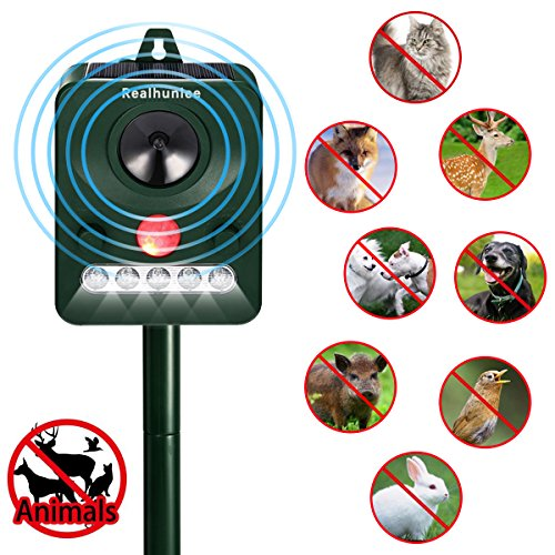 2018 New Solar Powered Ultrasonic Animal and Pest Repeller Outdoor Waterproof Effective Pest Control Repellent with Motion Sensor and Flashing Light for Foxes, Birds, Dogs, Cats, Skunks etc by Realhunlee