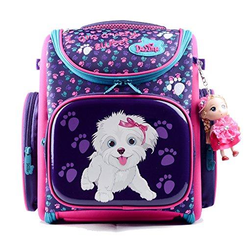 Delune Girl's School bag Cartoon Large Capacity Orthopedic backpack(Dog&Purple)