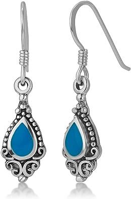 Vintage Sterling Silver Bali Lapis Gemstone Dangle Earrings