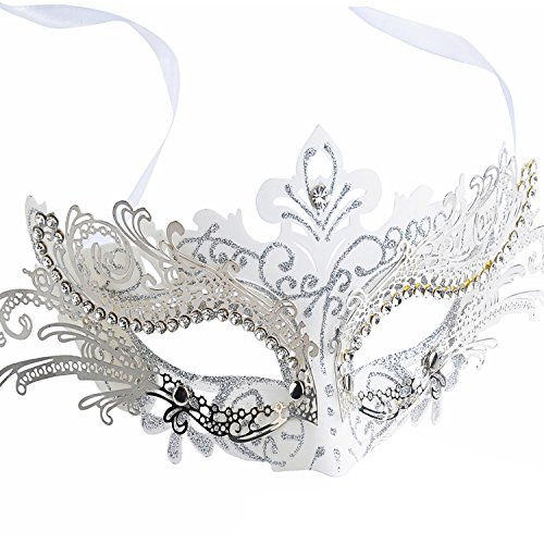 White Masquerade Mask (Masquerade Mask Shiny Metal Rhinestone Venetian Pretty Party Evening Prom Mask(White))