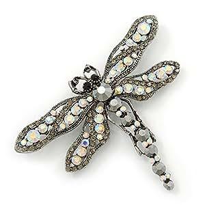 """Broche grande con dije """"libélula'' con cristales Swarovski ab y hematita en color plomizo"""