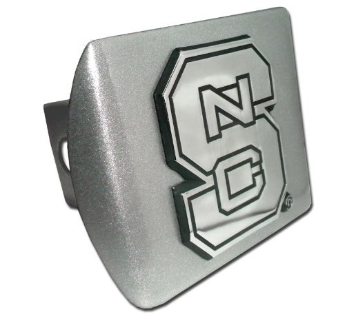 (North Carolina State University Brushed Silver NCS Emblem NCAA Metal Trailer Hitch Cover Fits 2 Inch Auto Car Truck Receiver )