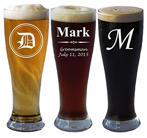 Personalized Pilsner Beer Glass 16 Oz - Wedding Party Groomsmen Father's Day Gifts - Custom Engraved Drinkware Glassware Barware Etched for Free ()