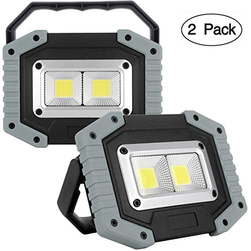 UNIKOO Rechargeable Work Light COB 30W 1500LM, Waterproof LED Portable Flood Light for Outdoor Camping Hiking Emergency Car Repairing Fishing (18650 Battery Included) (Best Portable Flood Light)