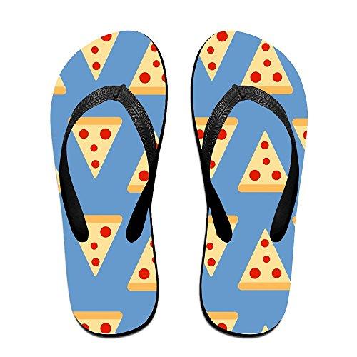 Unisex Pizza Sommer Tropp Flip Flops Stranden Slippers Plattformer Sandal For Menn Kvinner Svart