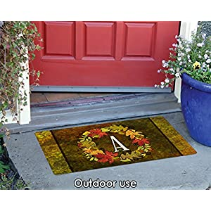 Toland Home Garden Fall Wreath Monogram A 18 x 30 Inch Decorative Autumn Floor Mat Colorful Leaves Doormat 3