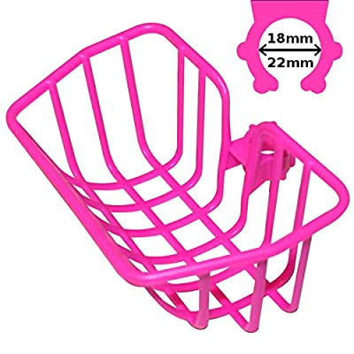 cyclingcolors Universal Pink Basket Kid Girl BOY Bike Plastic Bag Rack Front Clip Hook 18-22mm PUKY : Sports & Outdoors