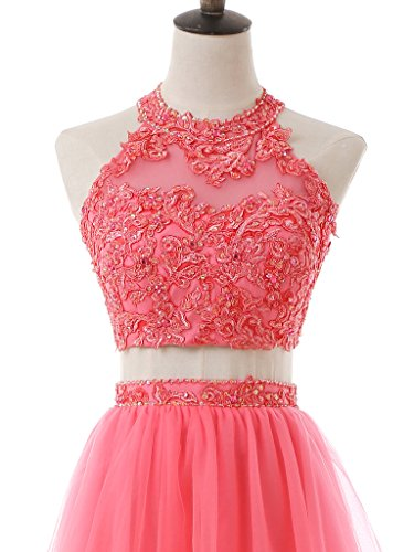 Dress Coral Beaded Women's SOLOVEDRESS Party Short Homecoming Dress Tulle 2 Cocktail Two Prom Pieces a8gRqOwv