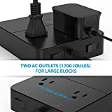 TROND 2-Outlet Power Strip with USB Charger (5-Port, 40W/8A), Angled Flat Plug, Dual Power Switches & LEDs, 5ft Long Cord, for Travel, Home, Office, Hotel, Nightstand & Dresser – Black