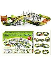 Pulchra Dinosaur Tracks Toys Set Car Race Track Set 144Pcs, Flexible Tracks Creative Model Track Play Set Includes Dinosaurs, Car, Ball, Bridges, Cage, Slopes, Racing Game for Children