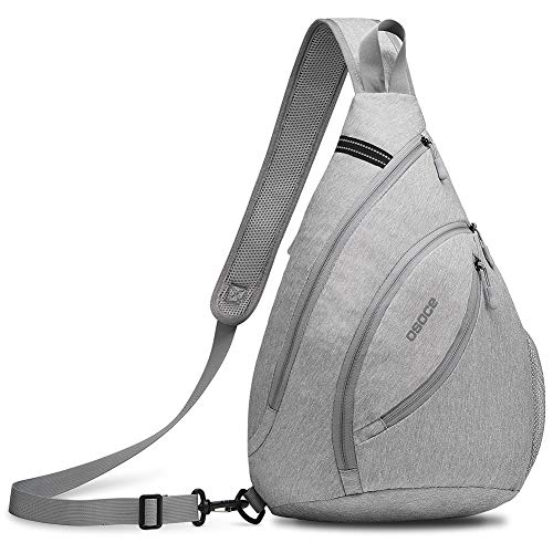 OSOCE Anti-Theft Waterproof Shoulder Backpack Sling Chest Crossbody Bag Cover Pack Travel Sport【Updated Version】(Light Grey)
