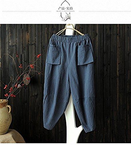 Vita Taille Libero Baggy Monocromo Trousers Pantaloni Tempo Irregular Battercake Tasche Moda Con Estivi Nahen Eleganti Tendenza Blau Light Casuale Signore Elastica Lino Donne vxTRqa