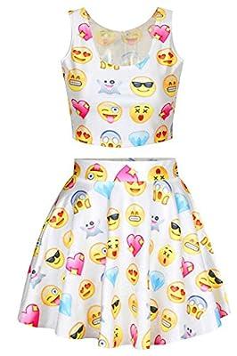 Pink Wind Ladies Girls Emoji Printed Crop Tank Top Mini Pleated Skirt Skater Dress Set 2pcs