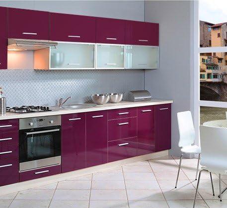Unbekannt Küchenzeile 10 Küchenblock Jersey/violett Hochglanz