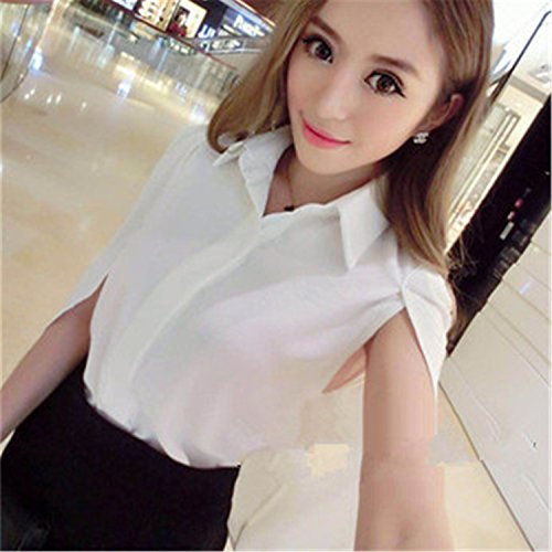 (Autumn Spring New Fashion Women's Kimono Blouses Solid Capes Chiffon Blouses Shirt Tops Womens Clothing Red Blue T77715A White M)