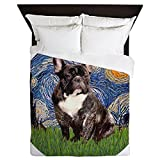 CafePress - Starry-Brindle French Bulldog - Queen Duvet Cover, Printed Comforter Cover, Unique Bedding, Microfiber