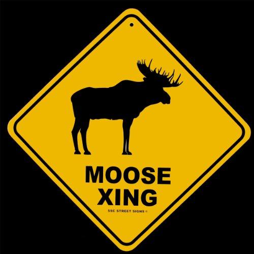 Moose Crossing Log Cabin Lodge Decor Alum Street Sign - Moose Crossing Sign