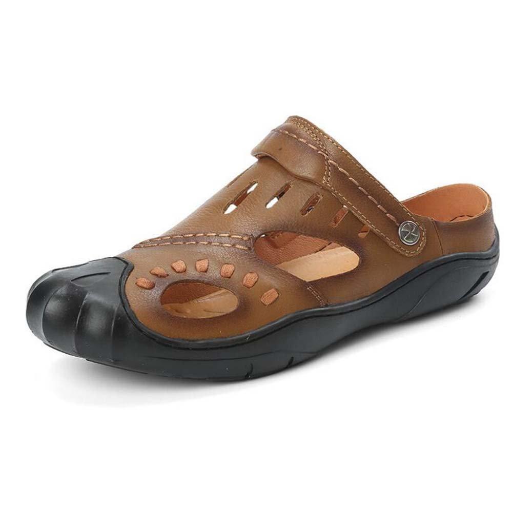 Zapatos de Hombre de Cuero de Vaca de Verano Sandalias Antideslizantes de Moda Sandalias de Playa Al Aire Libre Casuales y Zapatillas 39 EU|Marrón