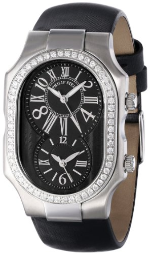 "Philip Stein Women's 2D-MB-IB ""Signature Diamond"" Stainless Steel and Black Leather Watch"
